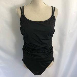 MiracleSuit Black One-Piece Swim Suit 14 Strappy